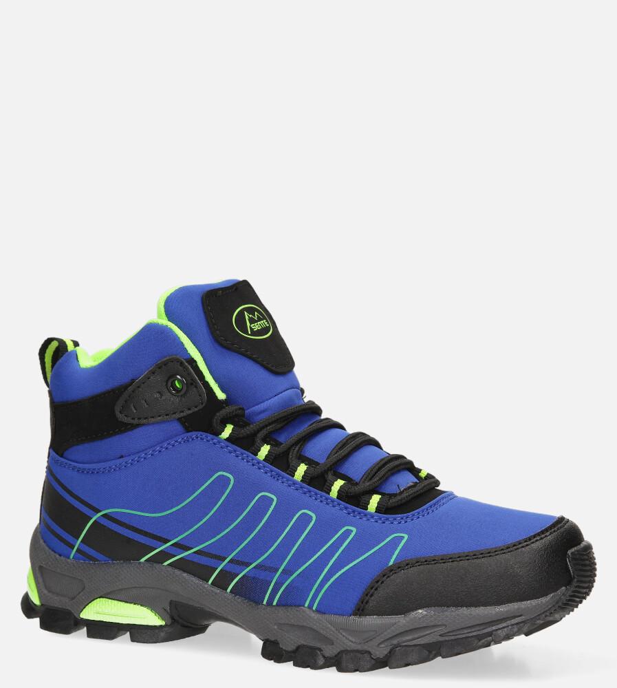 Niebieskie buty trekkingowe sznurowane softshell Casu B1530-2 sezon Całoroczny