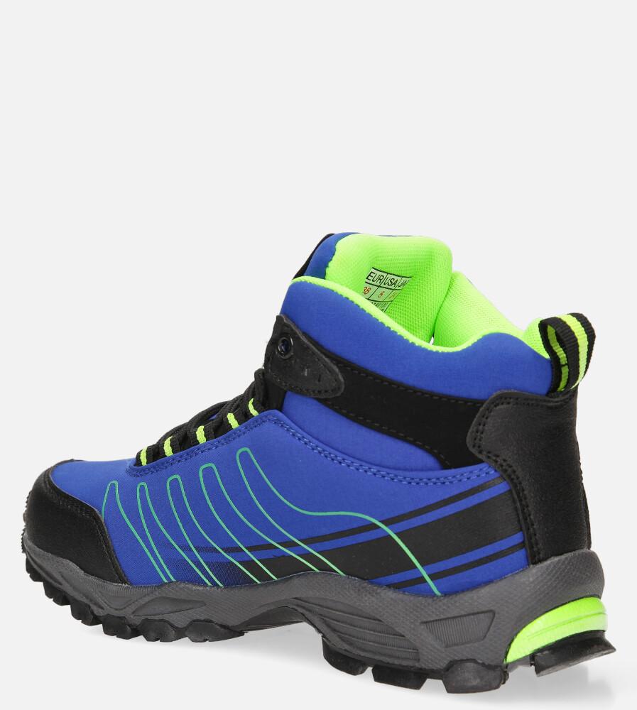 Niebieskie buty trekkingowe sznurowane softshell Casu B1530-2 kolor niebieski, seledynowy