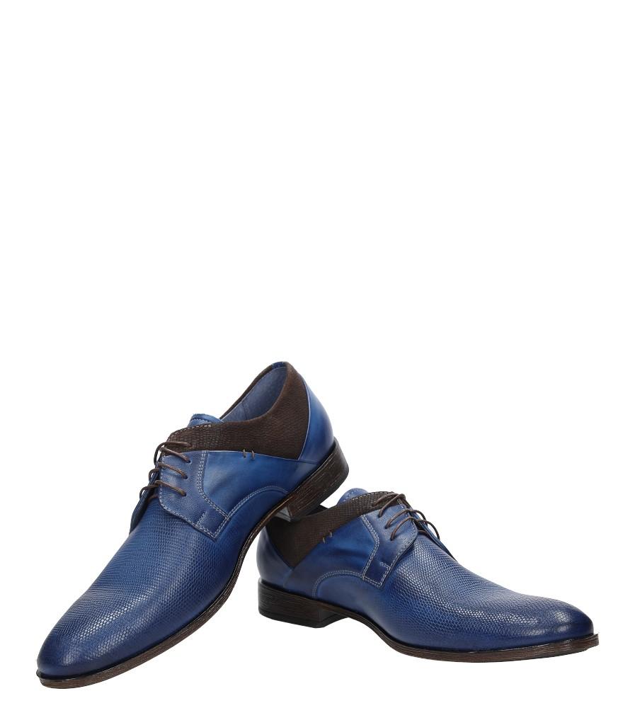 Niebieskie buty wizytowe skórzane sznurowane niebieski palony DUO MEN 01718E-06-C-P-010