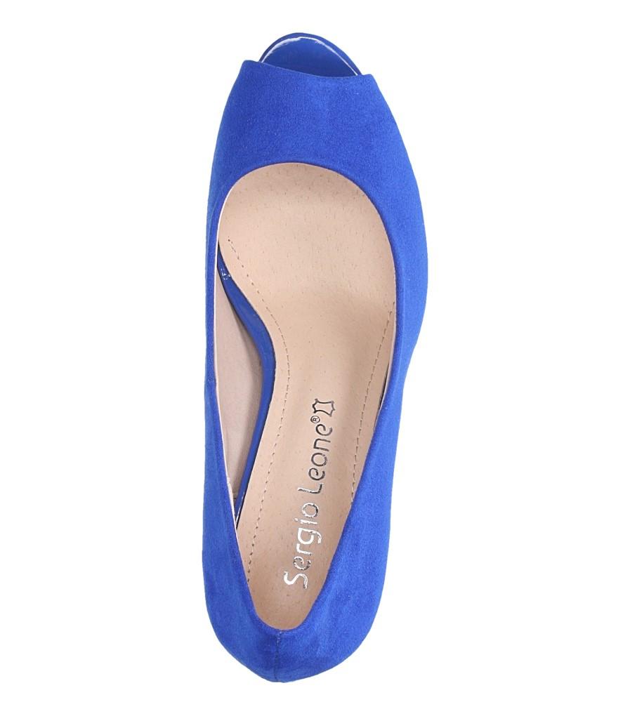Niebieskie czółenka peep toe na szerokim ozdobnym słupku Sergio Leone PB133 wys_calkowita_buta 15.5 cm