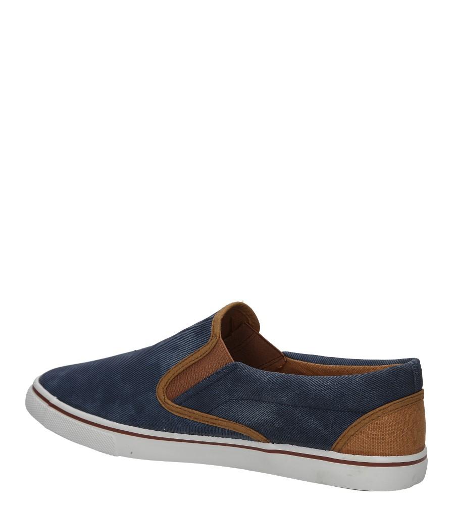Niebieskie jeansowe póbuty slip on Casu HL61028 kolor ciemny niebieski