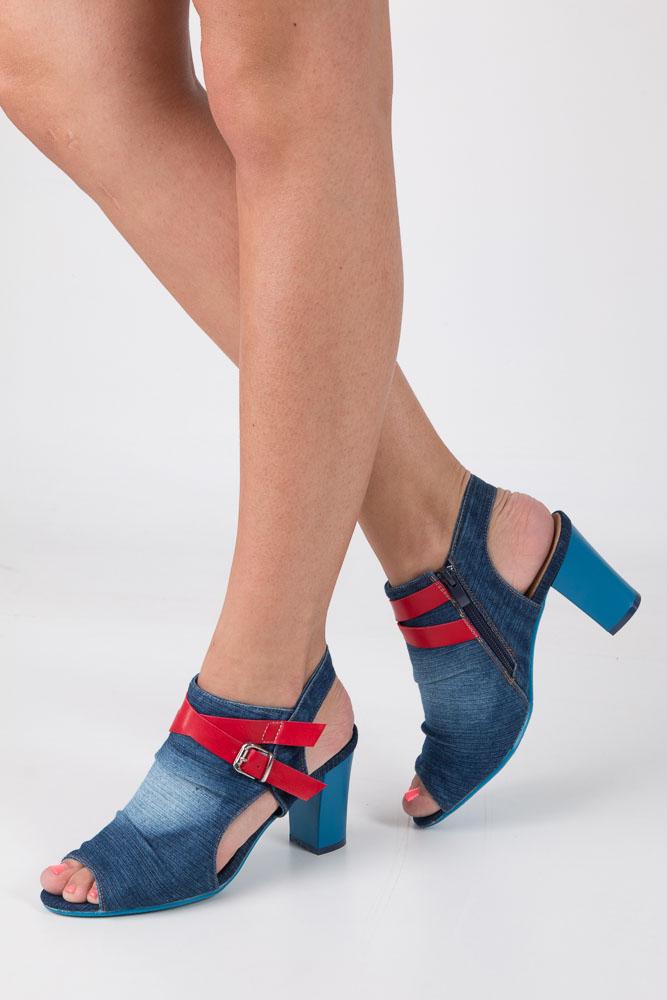 Niebieskie jeansowe sandały na obcasie Jezzi SA107-9