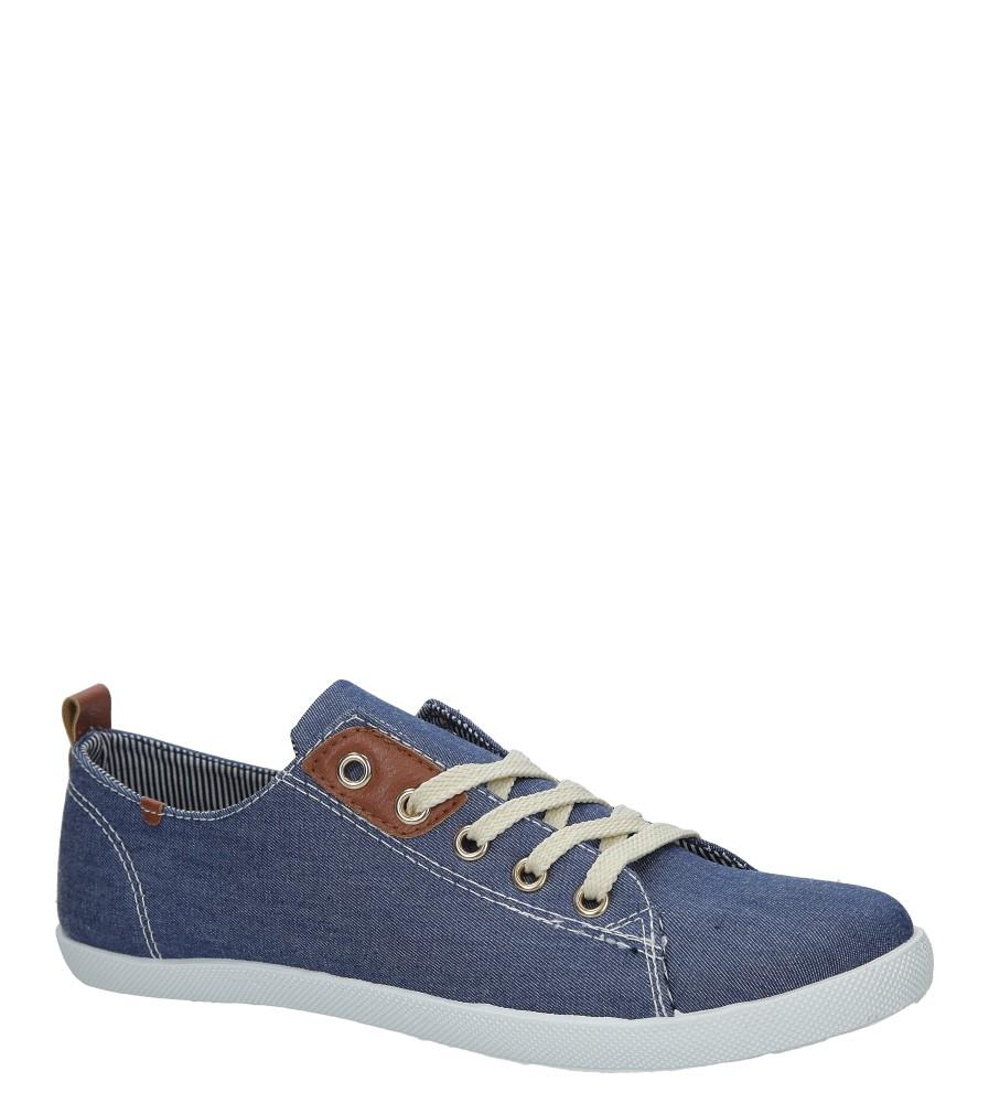 Niebieskie jeansowe tenisówki sznurowane Casu DD129B-7 niebieski