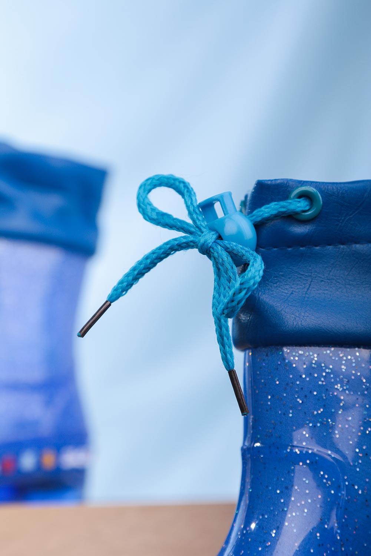 Niebieskie kalosze brokatowe ze ściągaczem Casu L11 ciemny niebieski