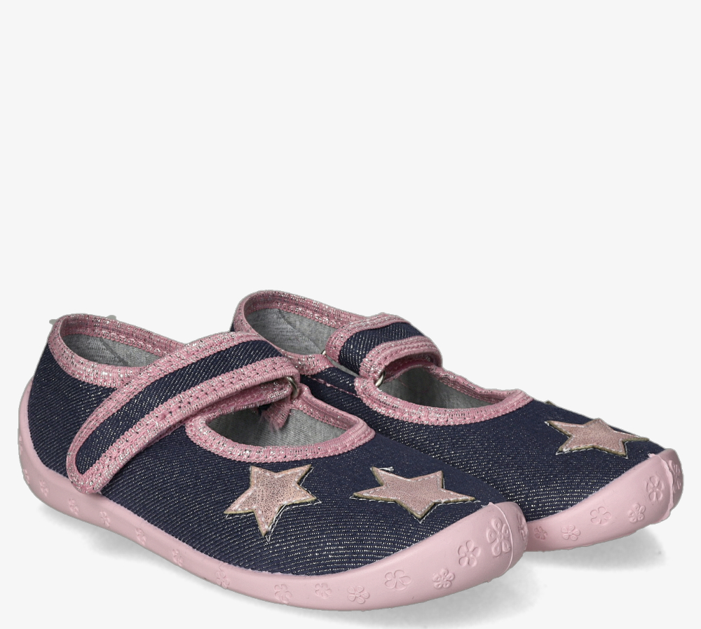 Niebieskie kapcie Raweks błyszczące na rzep z gwiazdkami Dorotka D52