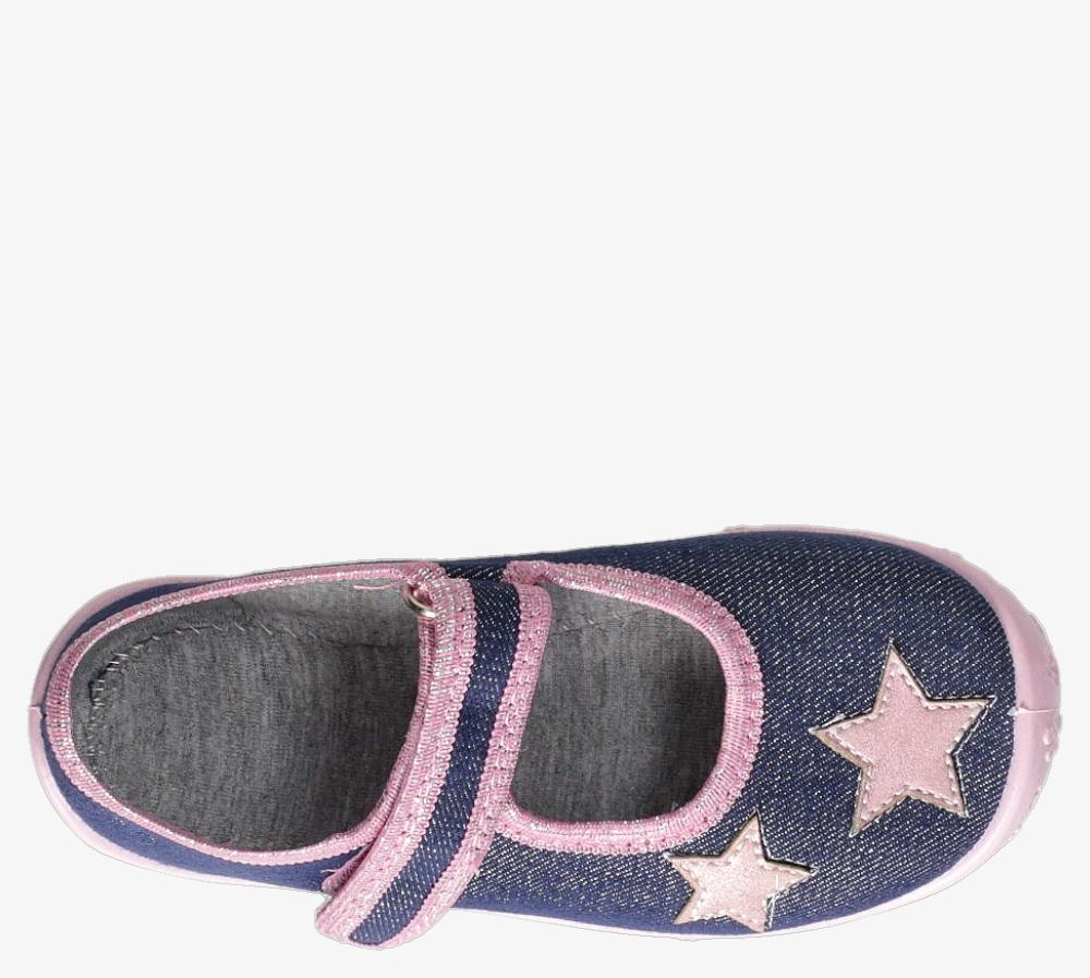 Niebieskie kapcie Raweks błyszczące na rzep z gwiazdkami Dorotka D52 ciemny niebieski