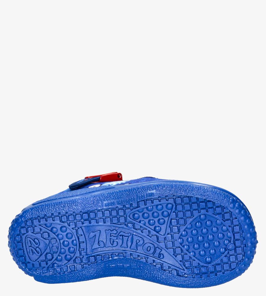 Niebieskie kapcie Zetpol ze skórzaną wkładką Piotruś 712 wys_calkowita_buta 7 cm