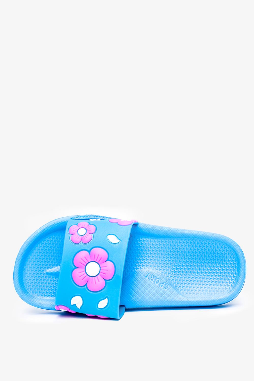 Niebieskie klapki Casu w różowe kwiatki C0699 niebieski