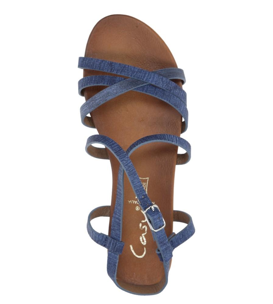 Niebieskie lekkie sandały płaskie z paskami trzymającymi stopę Casu K18X4/BL wysokosc_platformy 1 cm