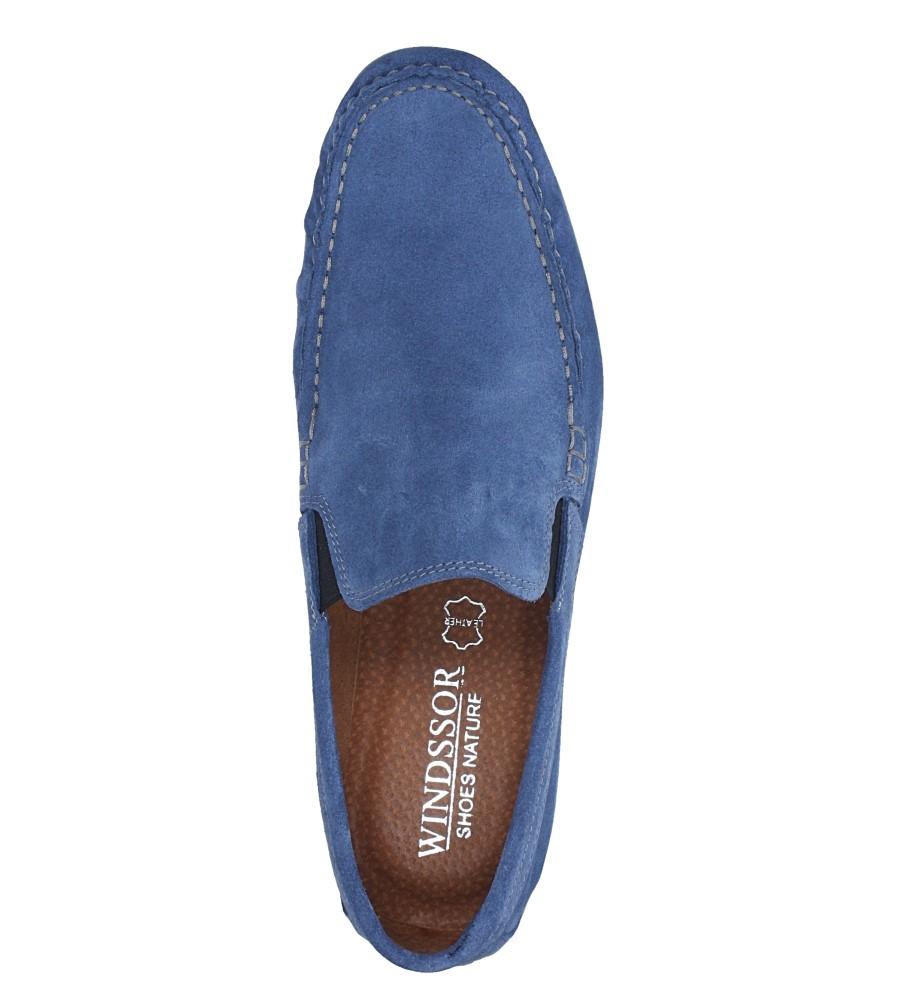 Niebieskie mokasyny półbuty skórzane welurowe z gumką Windssor MK-2 wys_calkowita_buta 10.5 cm