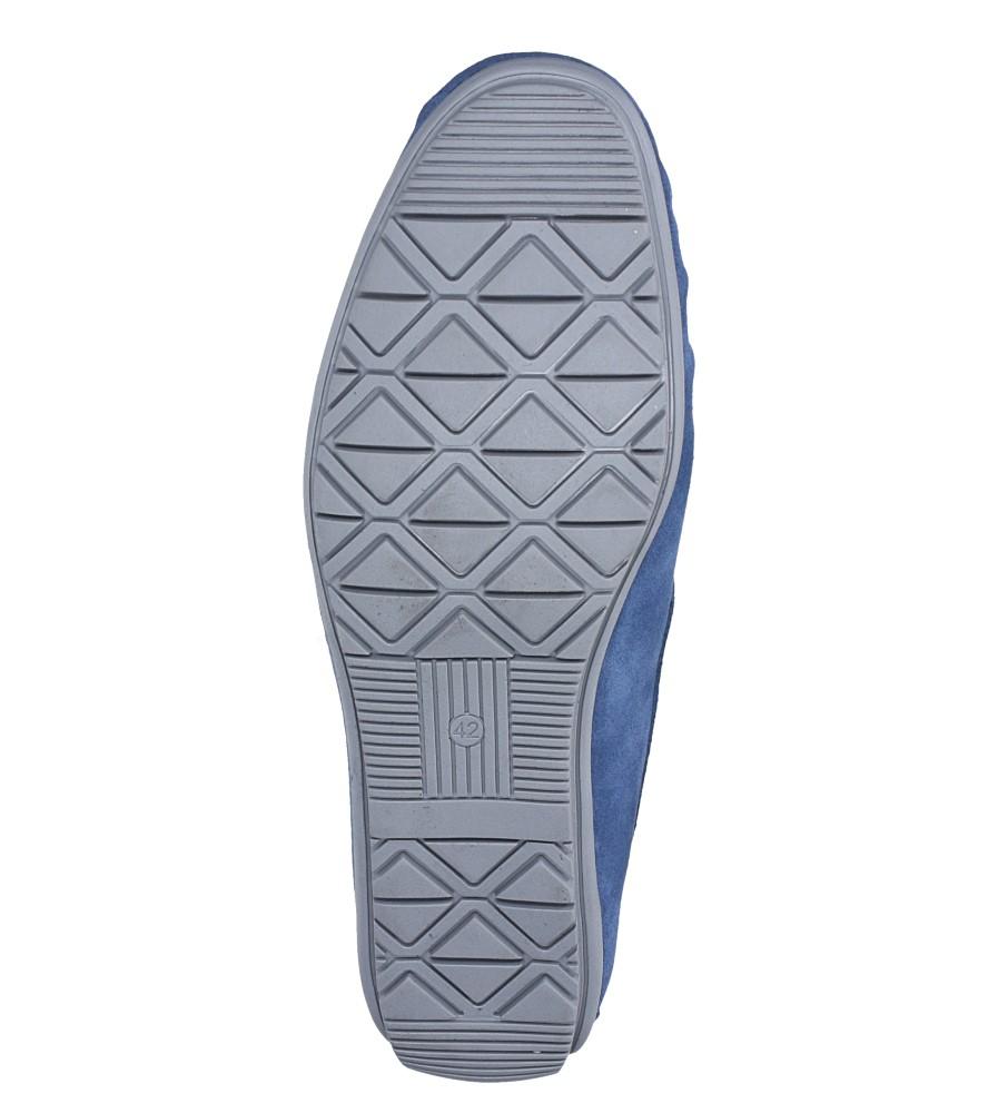 Niebieskie mokasyny półbuty skórzane welurowe z gumką Windssor MK-2 wierzch skóra naturalna - welur
