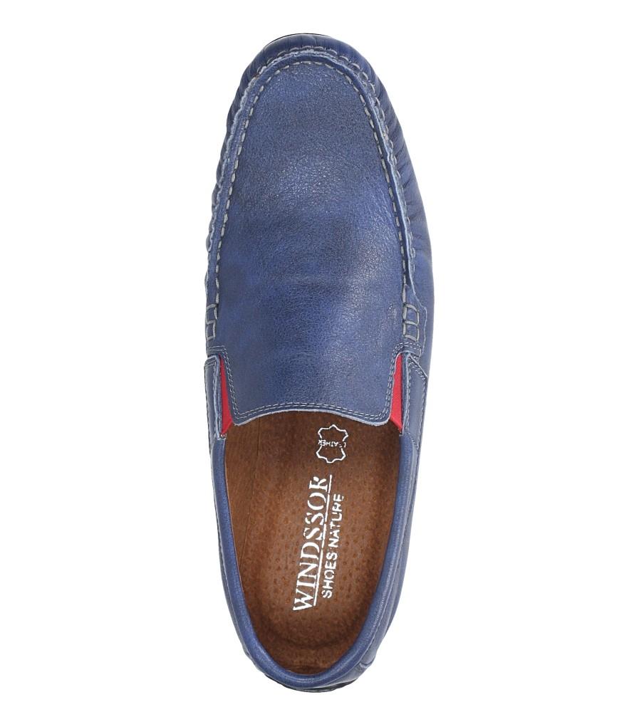 Niebieskie mokasyny półbuty skórzane z gumką Windssor MK-2 wys_calkowita_buta 10.5 cm