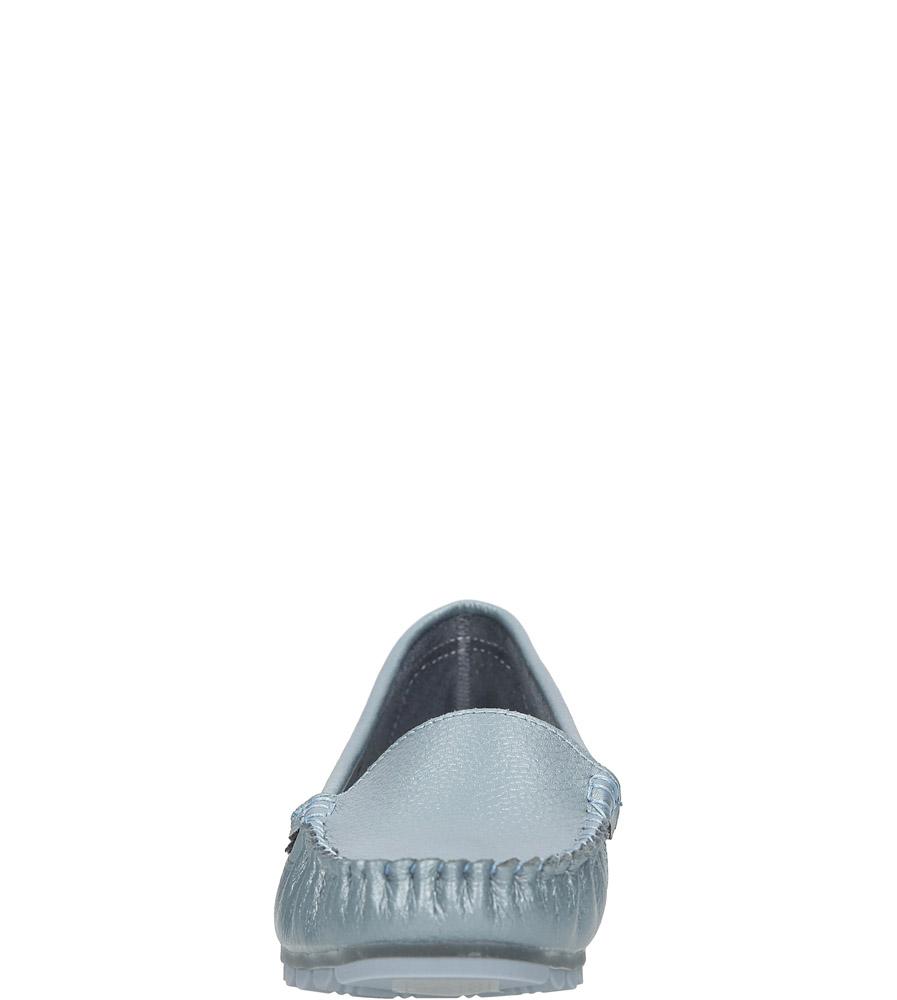 Niebieskie mokasyny skórzane błyszczące Casu DP130/18BL MET kolor niebieski