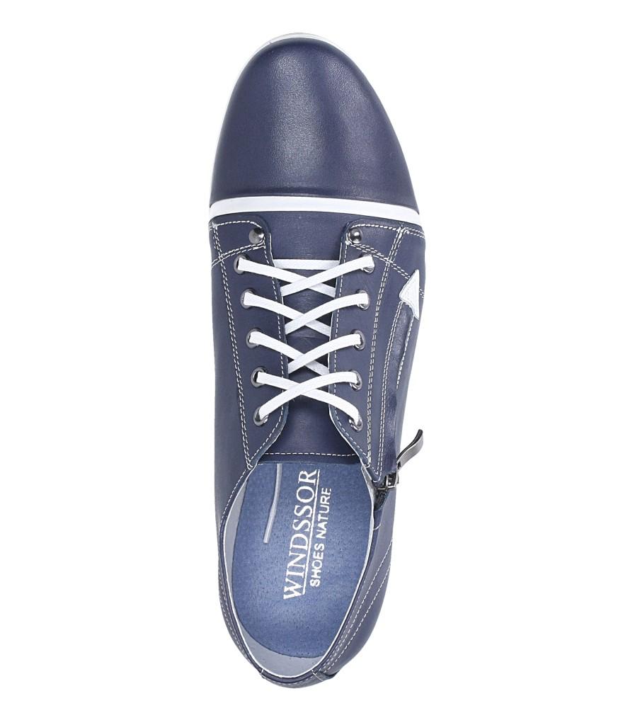 Niebieskie półbuty skórzane sznurowane Windssor SP27 wys_calkowita_buta 11 cm