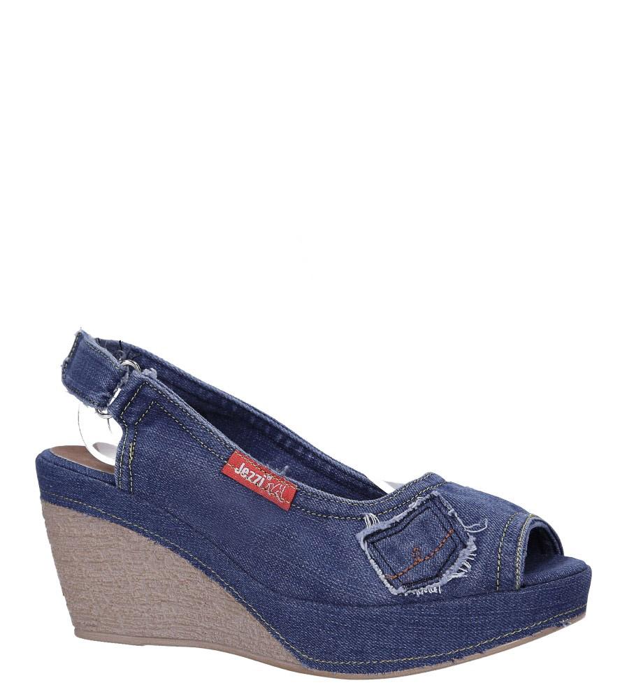 Niebieskie sandały jeansowe na koturnie ze skórzaną wkładką Jezzi RMR1740-1 ciemny niebieski