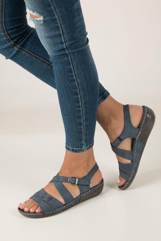 Niebieskie sandały na koturnie Jezzi MR1731-2 ciemny niebieski
