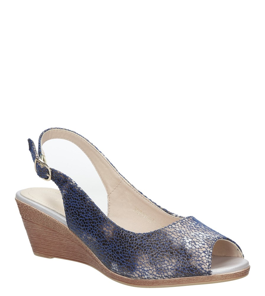Niebieskie sandały na koturnie w kwiaty mozaika Sergio Leone SK811- 07X