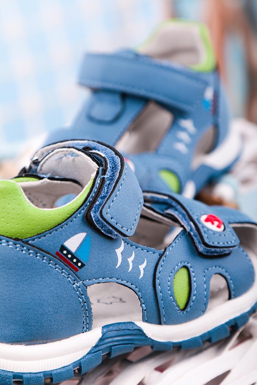 Niebieskie sandały na rzepy ze skórzaną wkładką z zakrytą piętą zabudowane Casu HX143 niebieski