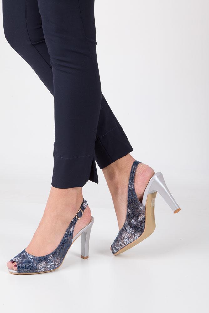 Niebieskie sandały na słupku w kwiaty mozaika Sergio Leone CZ578-07X