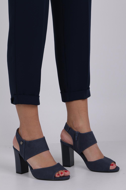 Niebieskie sandały na słupku ze skórzaną wkładką Jezzi ASA109-10 producent Jezzi