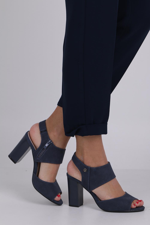 Niebieskie sandały na słupku ze skórzaną wkładką Jezzi ASA109-10 sezon Lato