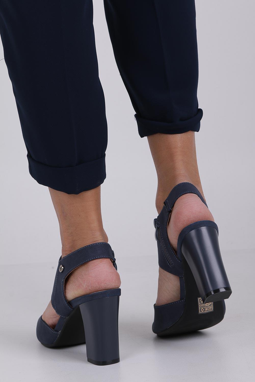 Niebieskie sandały na słupku ze skórzaną wkładką Jezzi ASA109-10 wysokosc_obcasa 9.5 cm