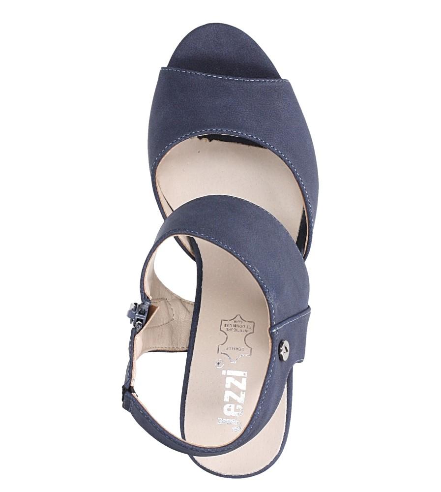 Niebieskie sandały na słupku ze skórzaną wkładką Jezzi ASA109-10 wierzch skóra ekologiczna - nubuk