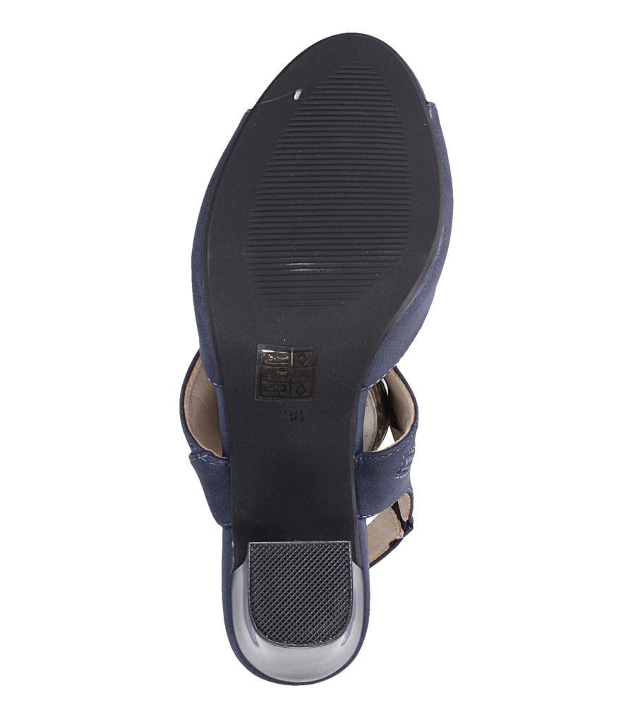 Niebieskie sandały na słupku ze skórzaną wkładką Jezzi ASA109-10 wnetrze skóra ekologiczna