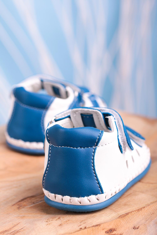 Niebieskie sandały niemowlęce niechodki ze skórzaną wkładką na rzepy Casu FX85 ciemny niebieski