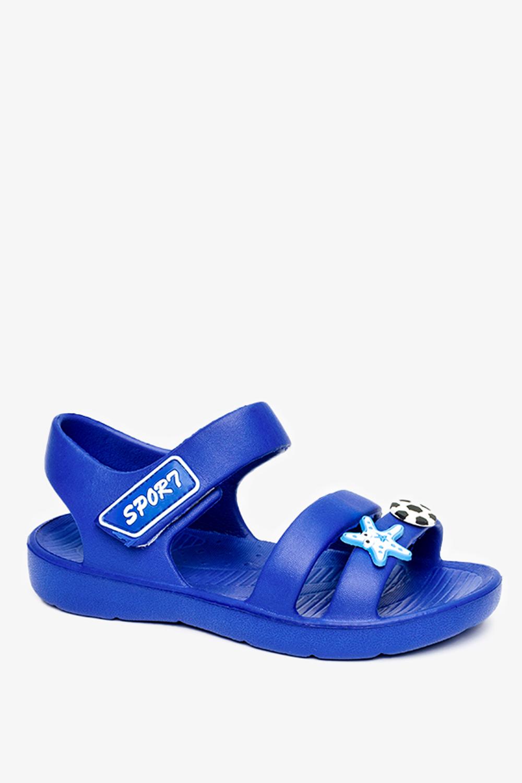 Niebieskie sandały piankowe na rzep z ozdobą Casu T452
