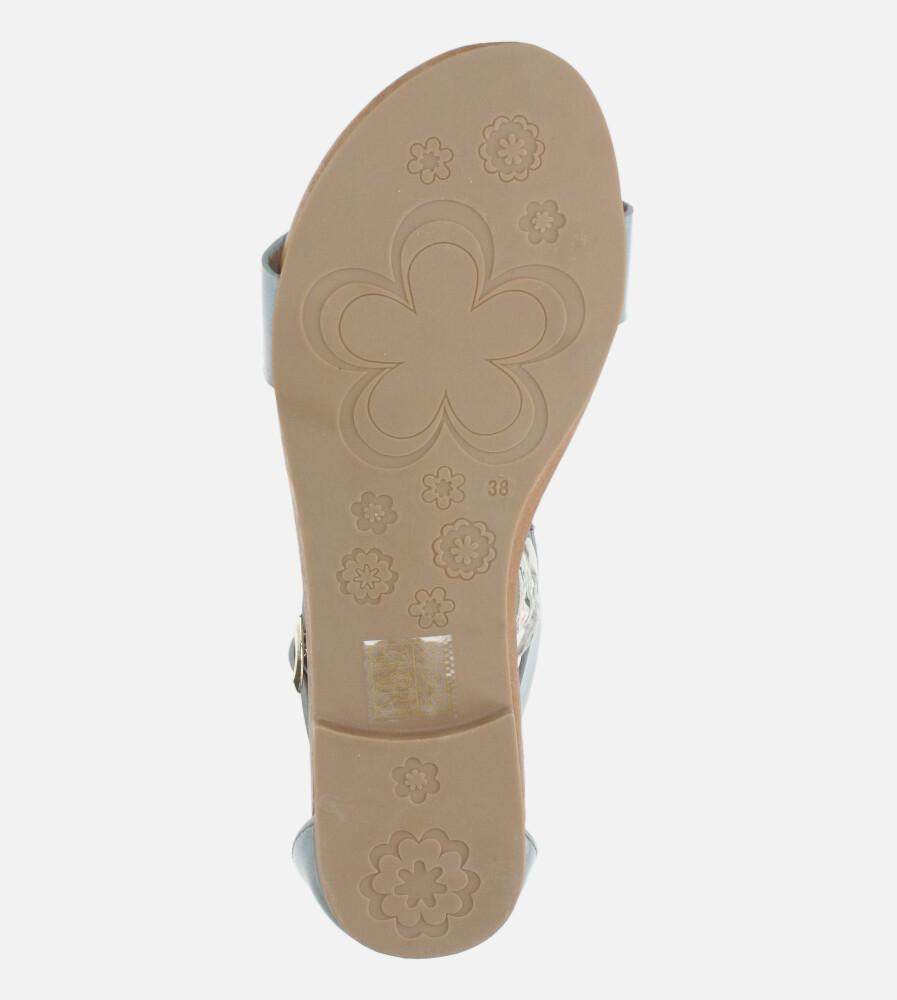 Niebieskie sandały płaskie z zakrytą piętą Casu K20X4/BL wysokosc_obcasa 2 cm