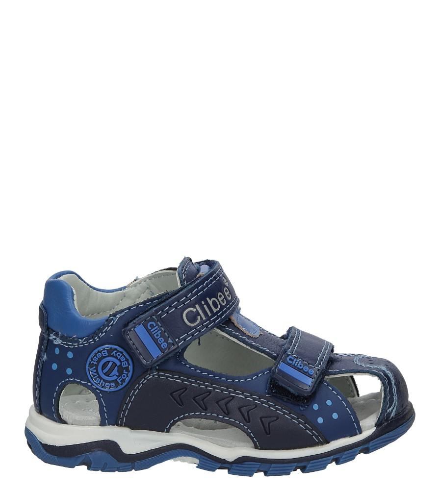Niebieskie sandały skórzane na rzepy Casu F-200