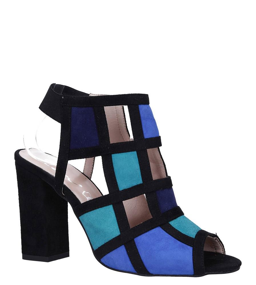 Niebieskie sandały skórzane zabudowane z gumką na słupku Casu DS-274/A
