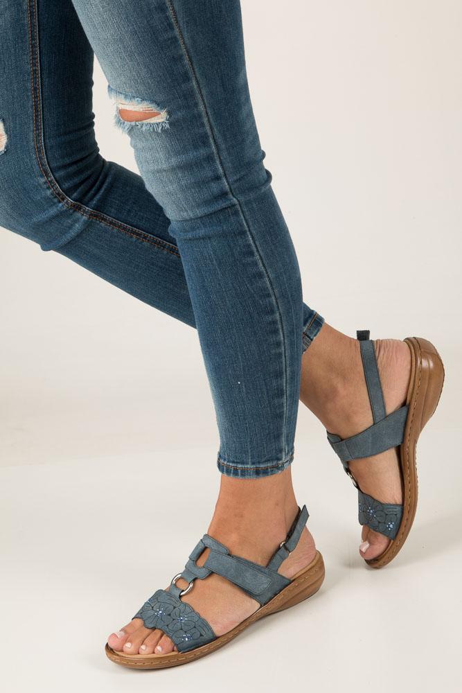 Niebieskie sandały z cyrkoniami Rieker 60843-14