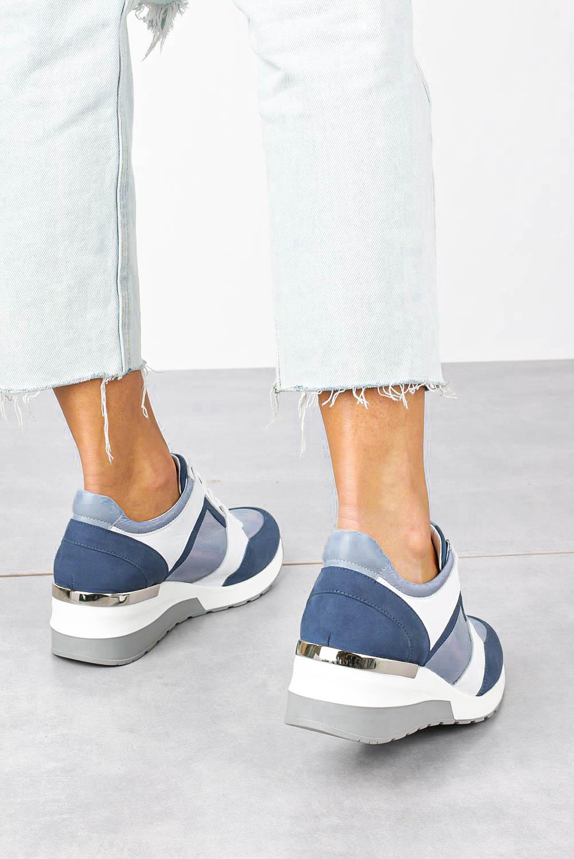 Niebieskie sneakersy Kati buty sportowe sznurowane polska skóra 7049