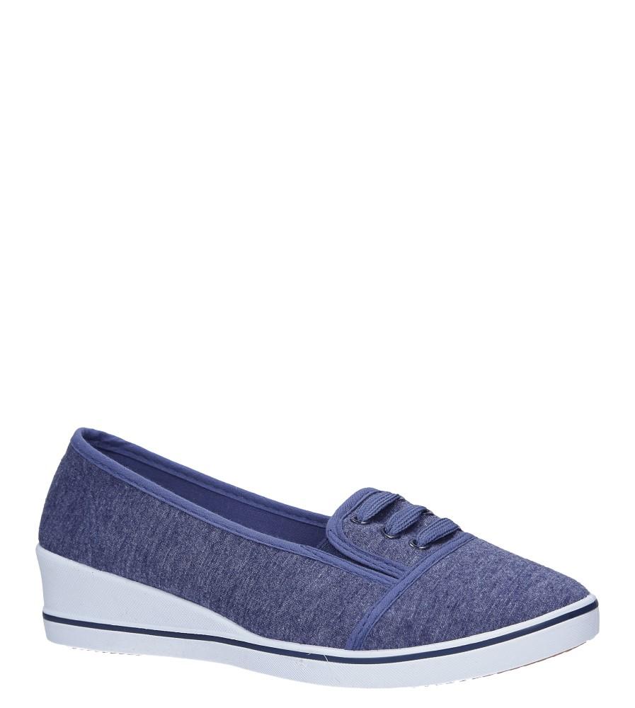 Niebieskie tenisówki na koturnie z gumką Casu 17W-9G