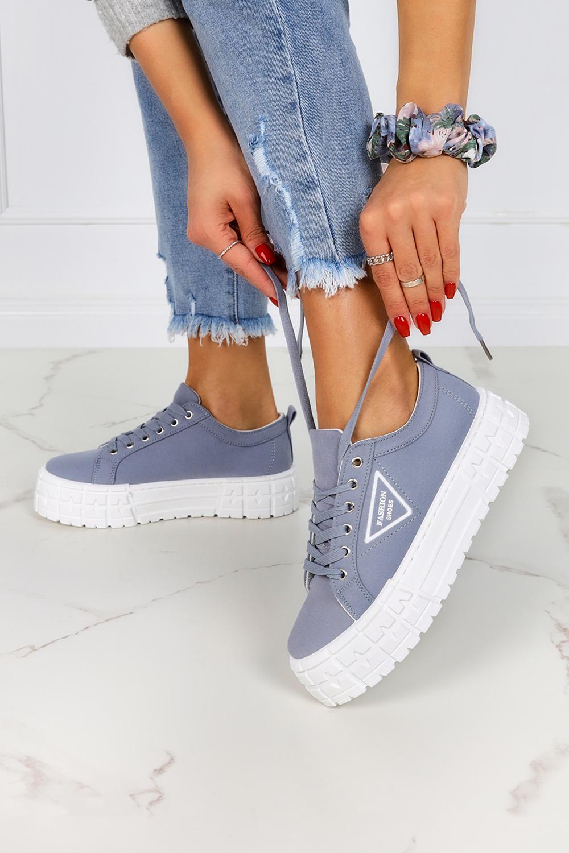 Niebieskie trampki creepersy na platformie buty sportowe sznurowane Casu LA134P niebieski