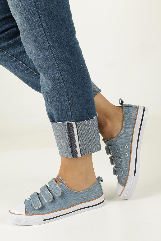 Niebieskie trampki jeansowe na rzepy American LH-18-DSTC-JEANS-3/4