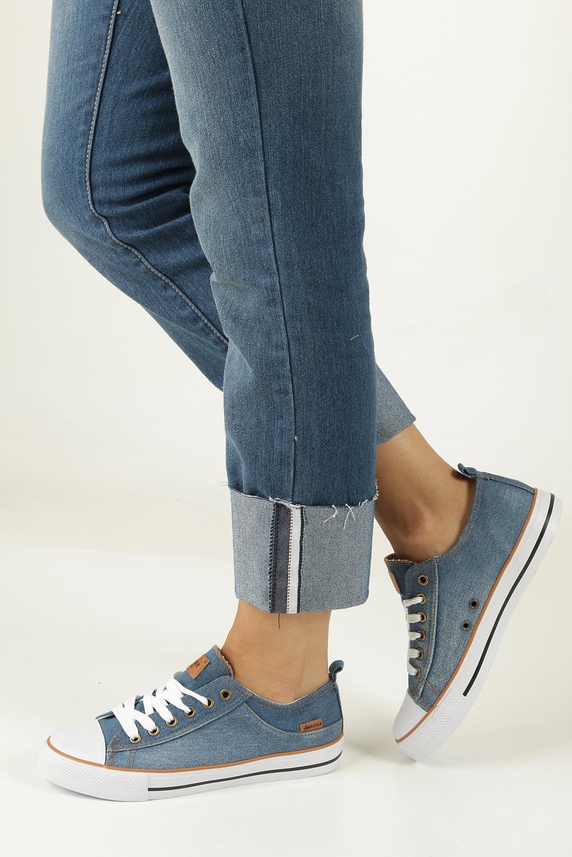 Niebieskie trampki jeansowe sznurowane American LH-18-NJ03/04