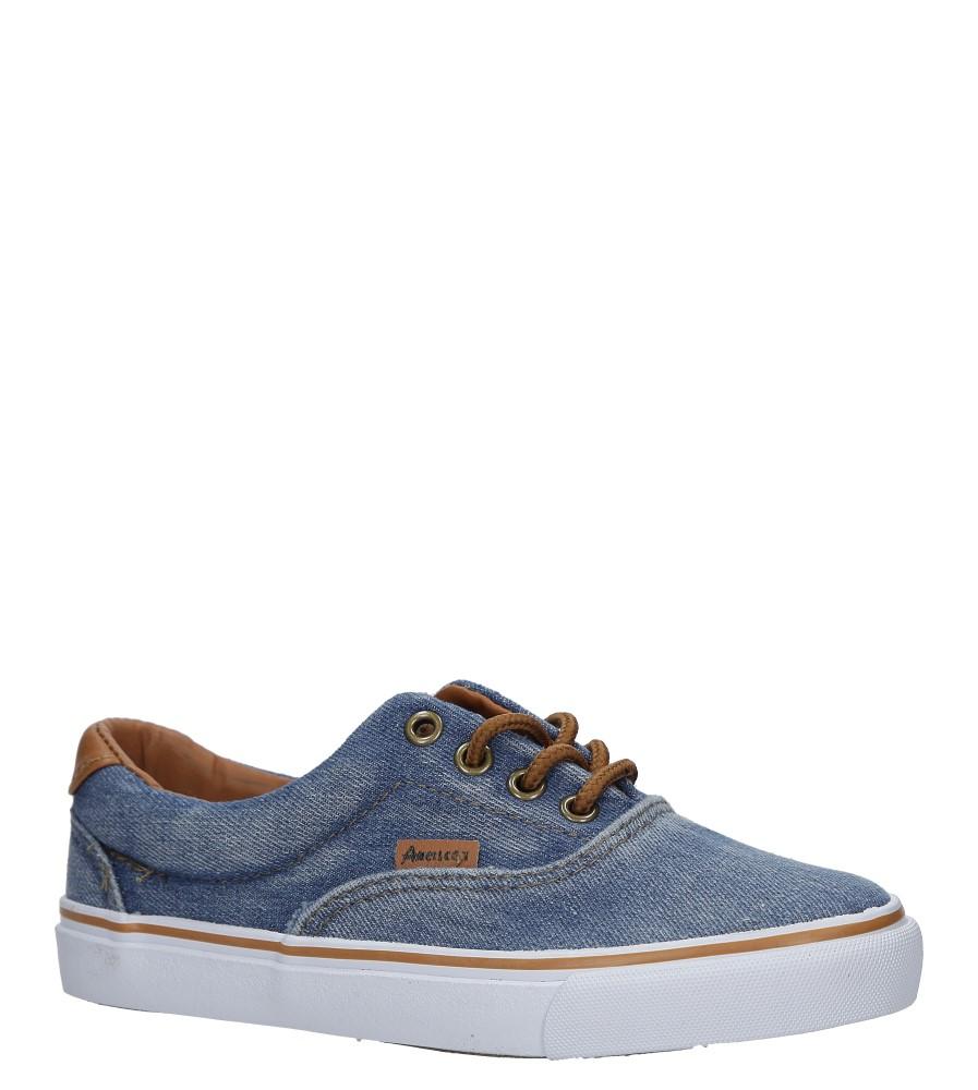 Niebieskie trampki jeansowe sznurowane American LH-18-NJ04-3/4