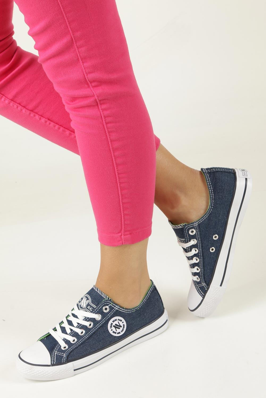 Niebieskie trampki jeansowe sznurowane  Casu 083