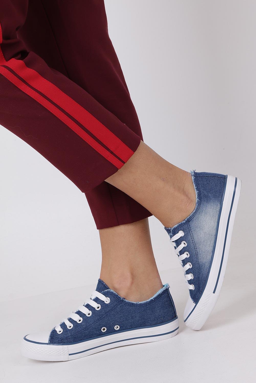 Niebieskie trampki jeansowe sznurowane Casu DD8239-6