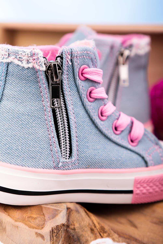 Niebieskie trampki jeansowe wysokie sznurowane Casu 204/27G kolor jasny niebieski