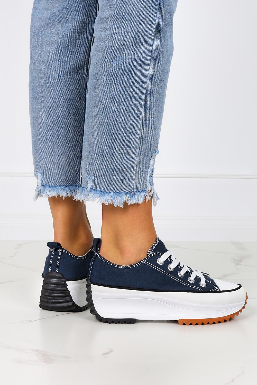 Niebieskie trampki na platformie buty sportowe sznurowane Casu VL137P ciemny niebieski