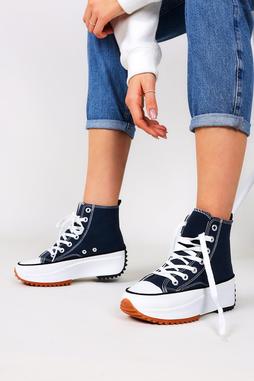 Niebieskie trampki na platformie wysokie buty sportowe sznurowane Casu VL135P ciemny niebieski