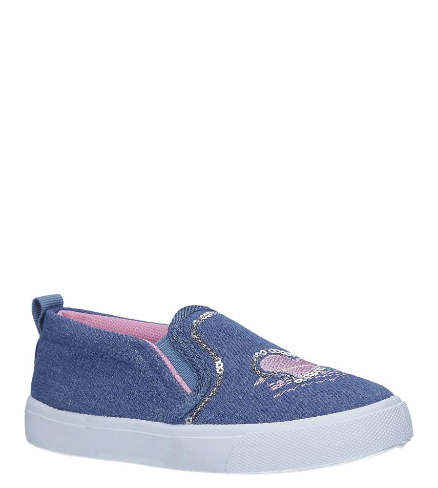 Niebieskie trampki slip on jeansowe z cekinami Casu 568-1