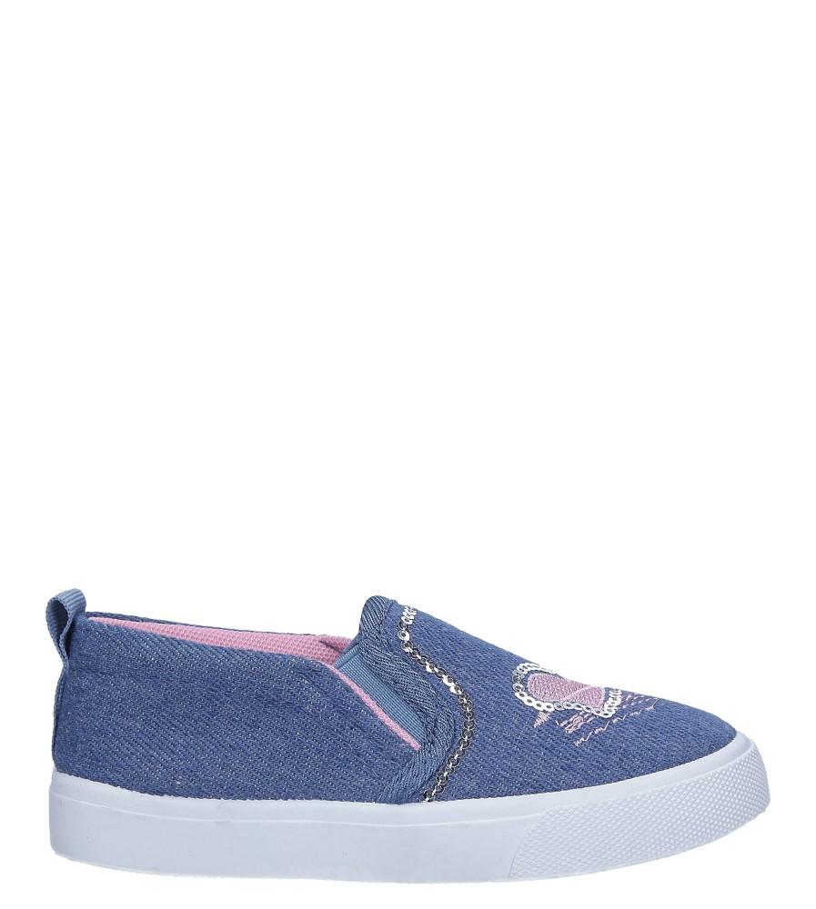 Niebieskie trampki jeansowe slip on z cekinami Casu 568-1