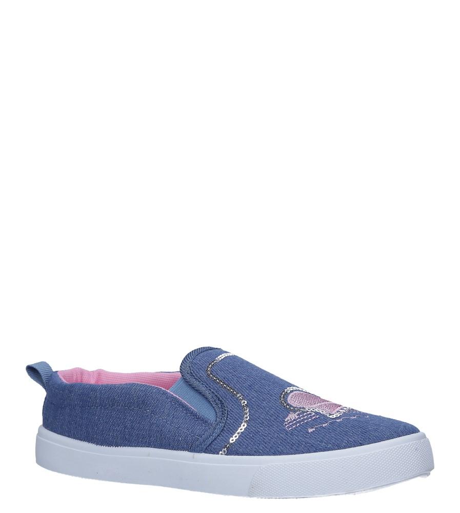 Niebieskie trampki slip on jeansowe z cekinami Casu 568-2