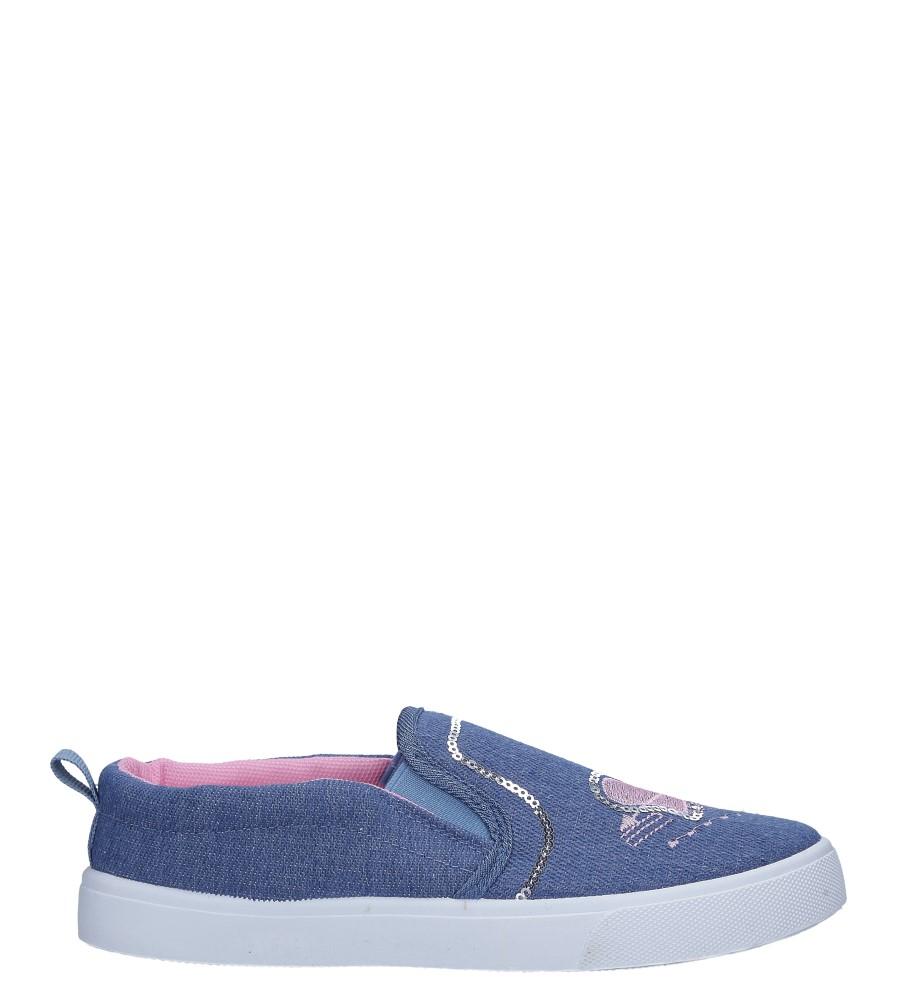 Niebieskie trampki jeansowe slip on z cekinami Casu 568-2
