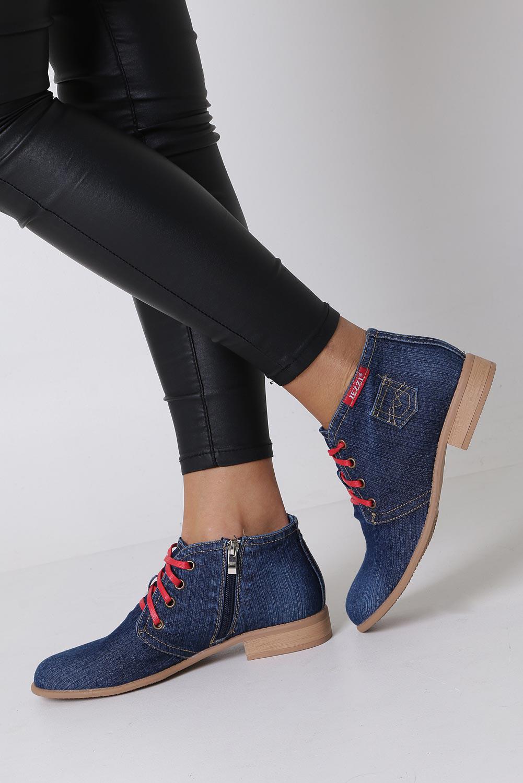 Niebieskie trzewiki jeansowe sznurowane Jezzi ASA142-8